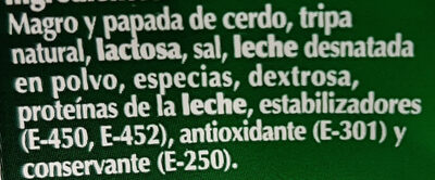 Fuet - Ingredients - es