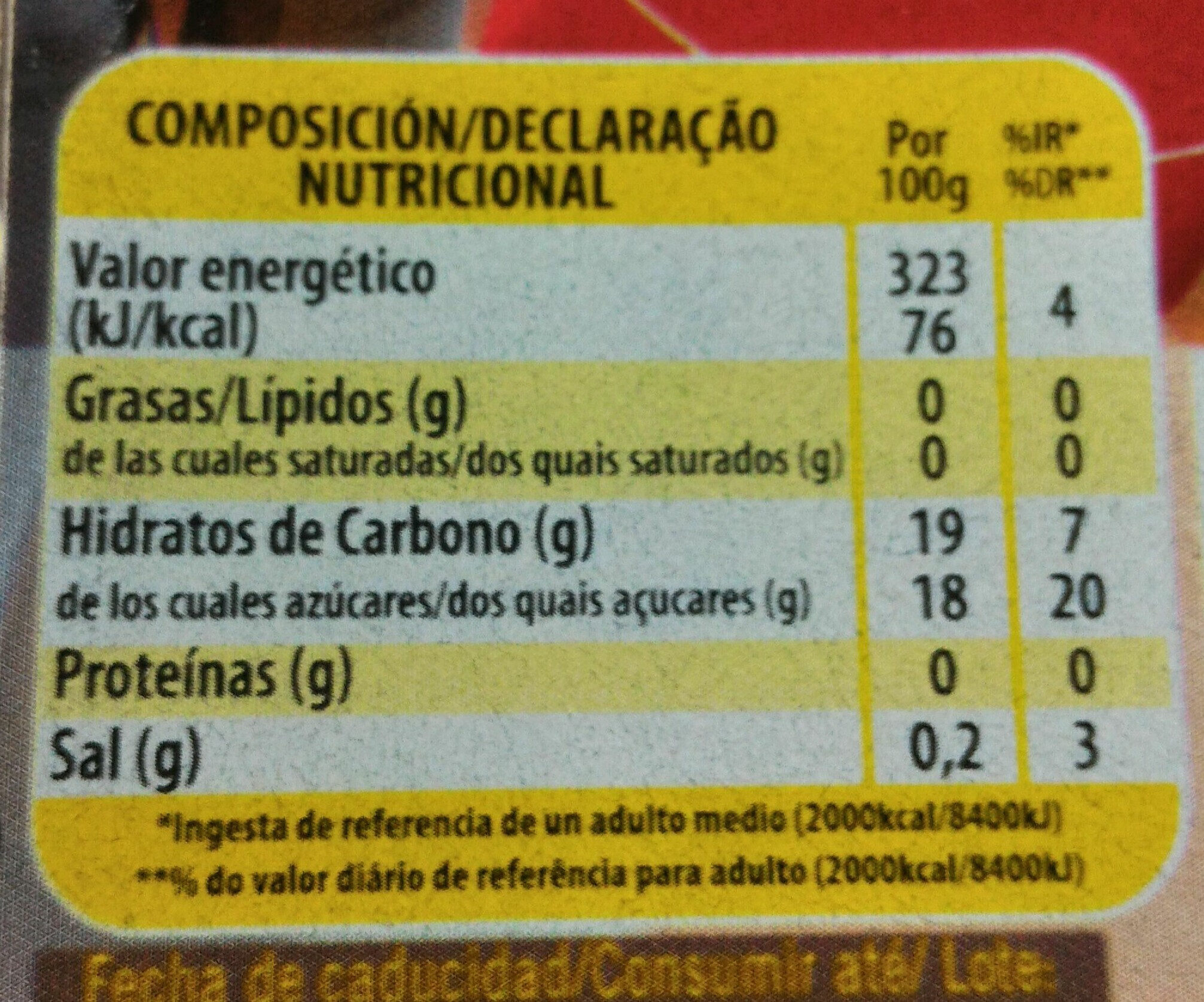 Gelli Sweet cola - Nutrition facts - fr