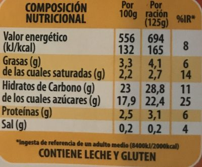 Natillas con galleta - Informations nutritionnelles