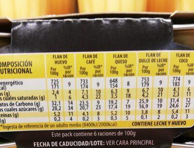 Surtido Novedad Flanes Pack-6 X 100 GR. - Nutrition facts