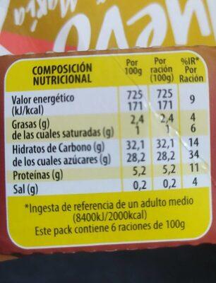 Flan de huevo al baño maria - Información nutricional - es