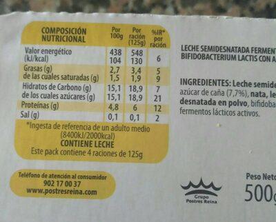 Bifidus cremoso - Información nutricional