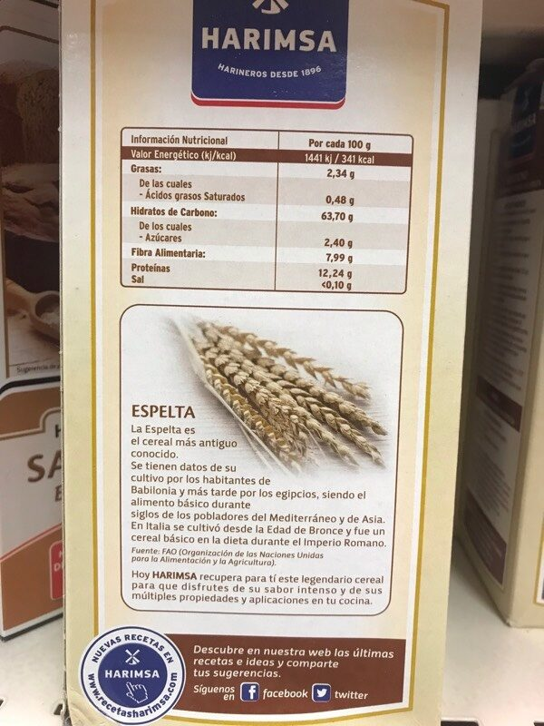 Harina integral de espelta - Nutrition facts