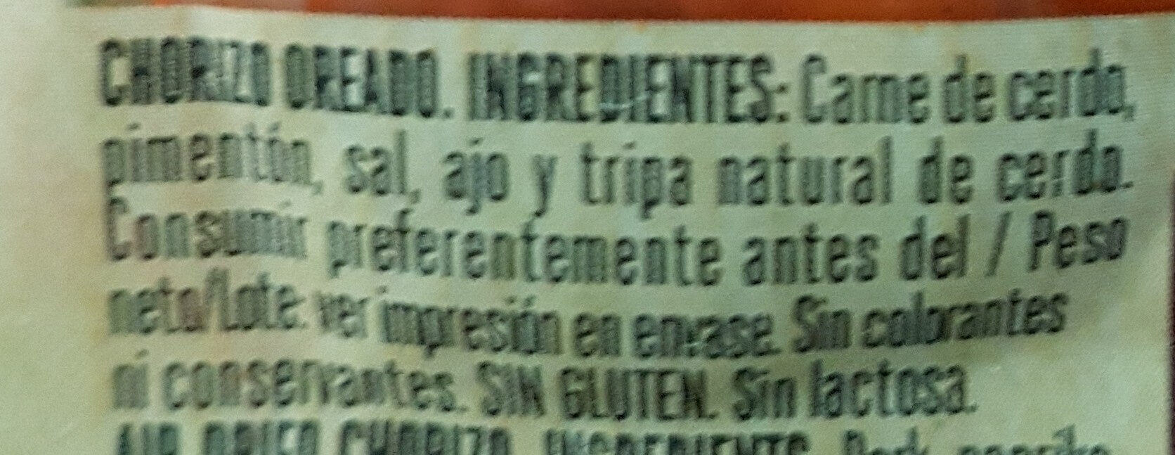 Chorizo - Ingredientes