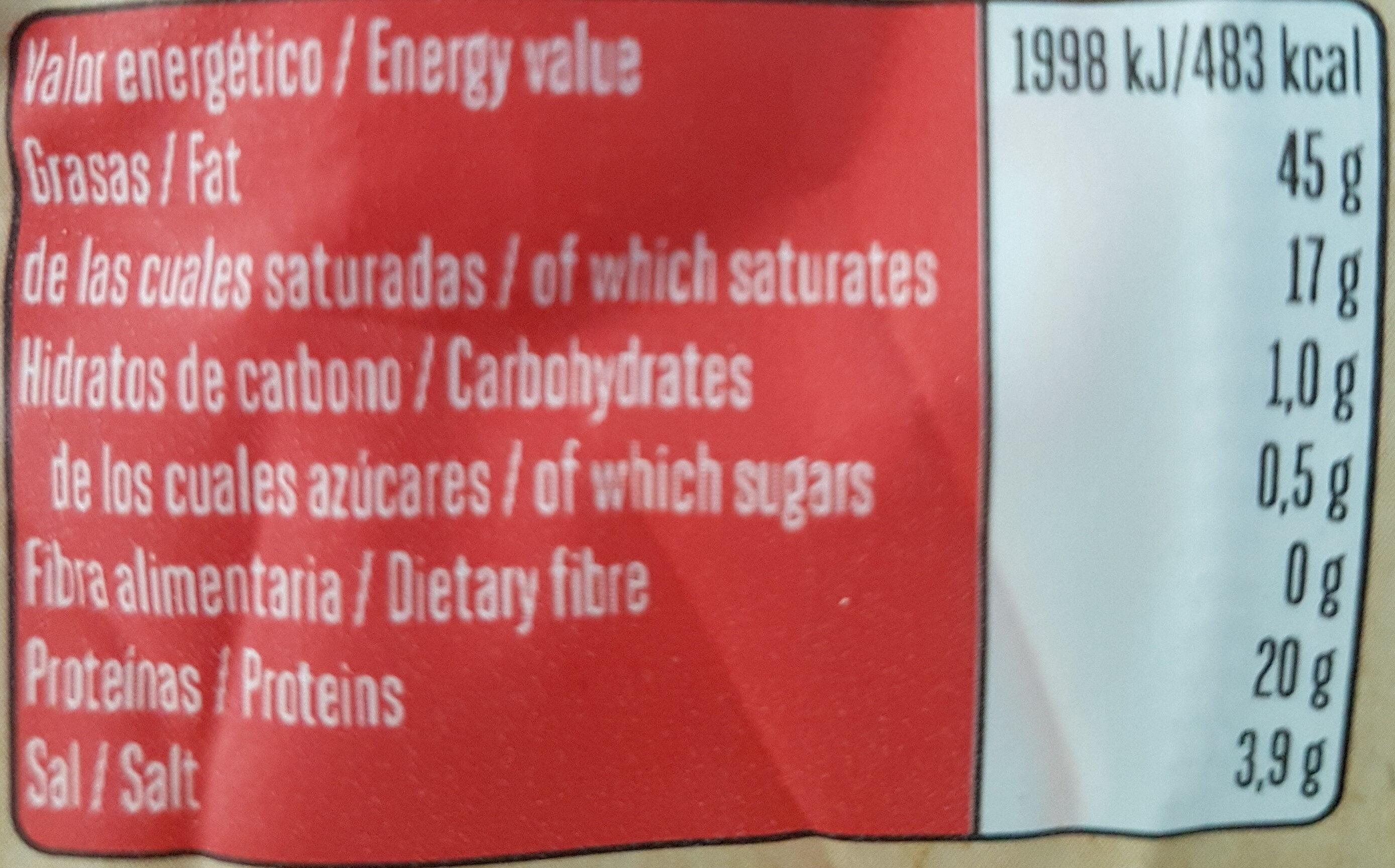 Chorizo - Información nutricional