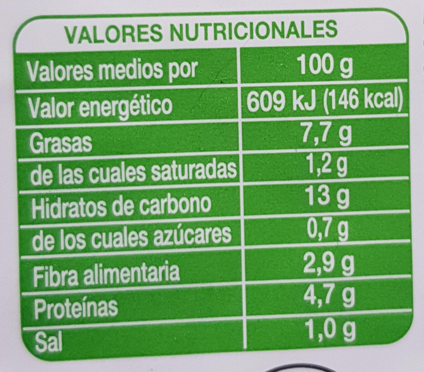 Tortilla de patata - Información nutricional
