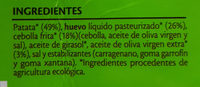 Tortilla Ecológica - Ingredientes