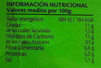 Tortilla Ecológica - Información nutricional