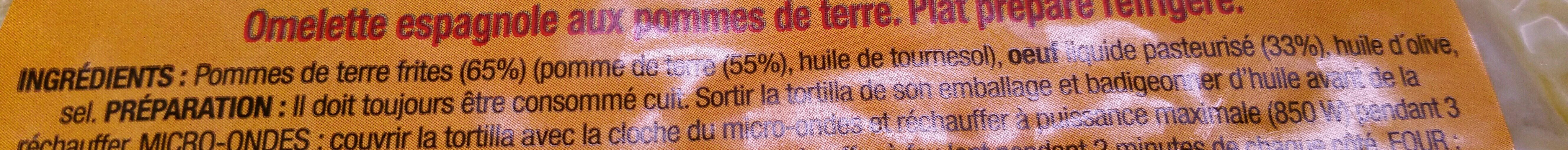 Tortilla - Ingrédients