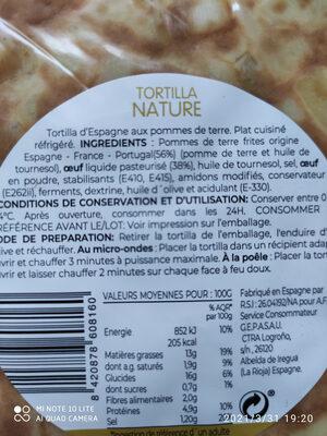 Tortilla nature - Ingredients - fr