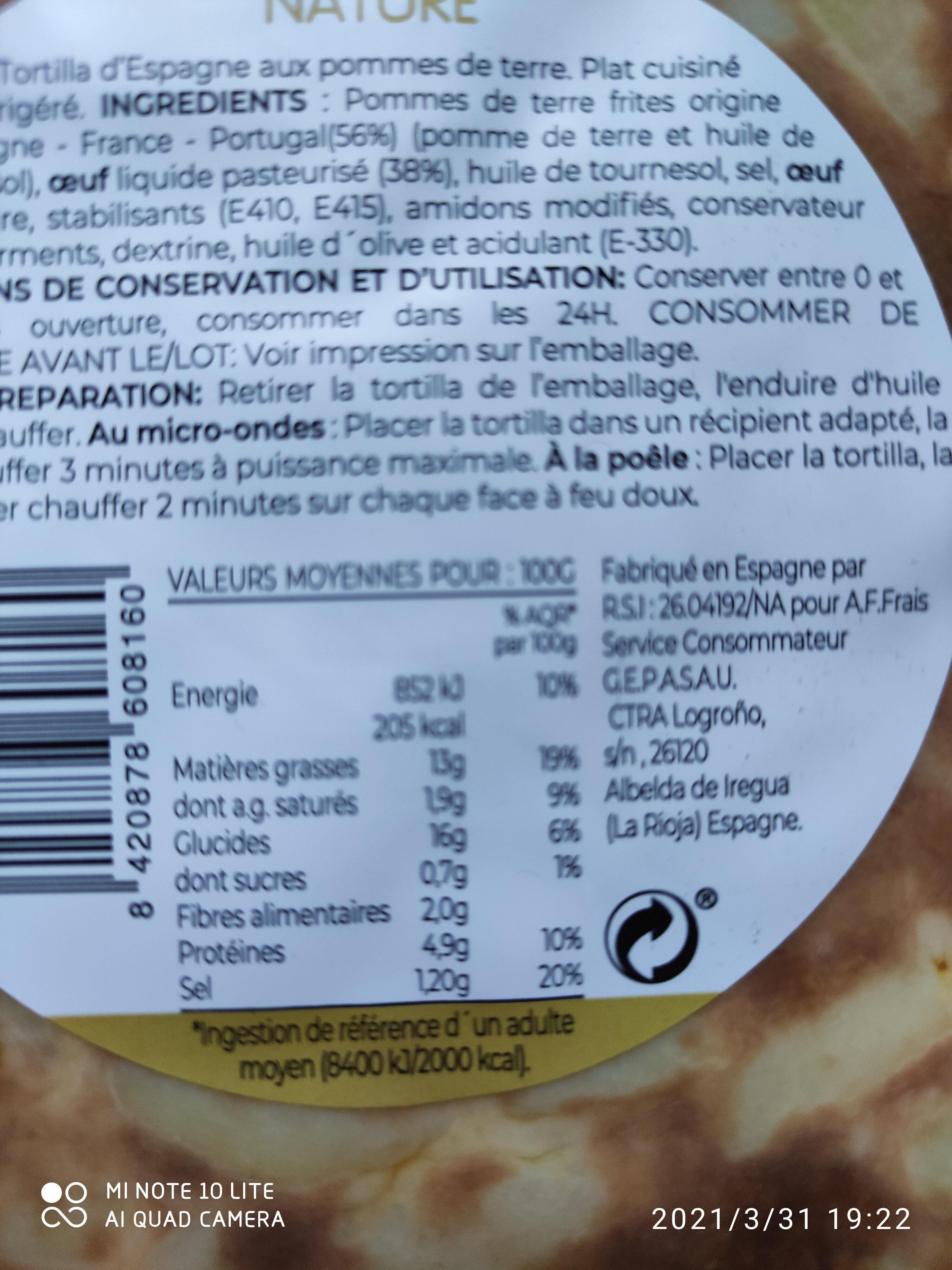 Tortilla nature - Nutrition facts - fr