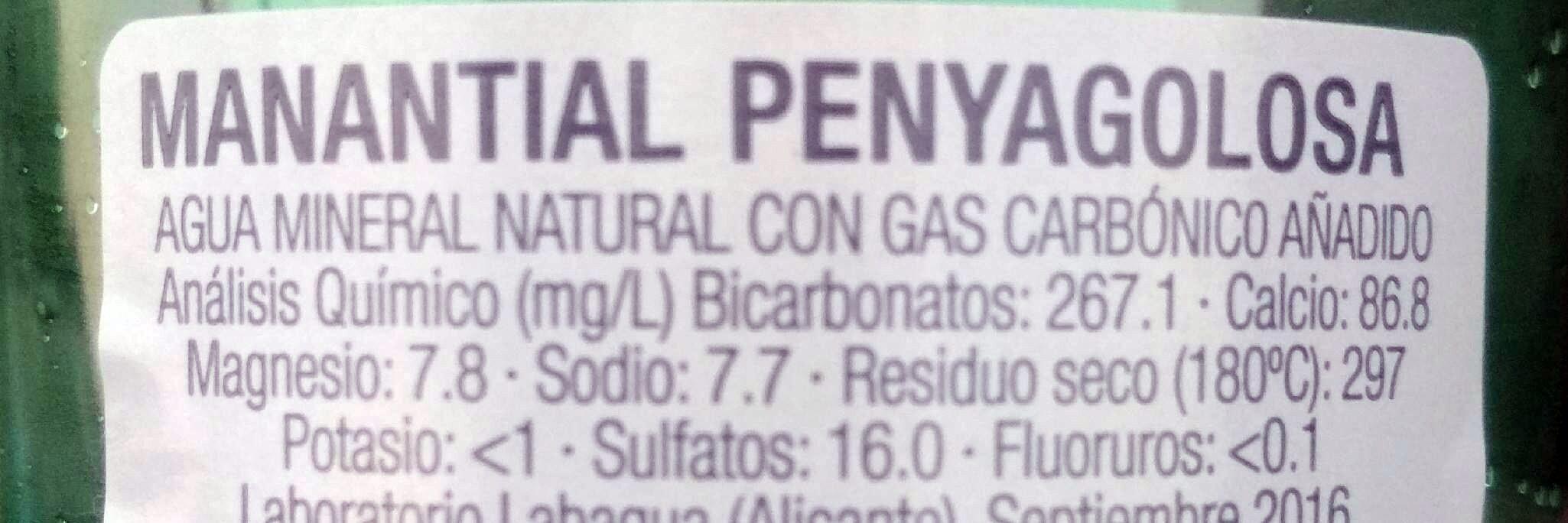 Agua mineral natural con gas - Información nutricional - es