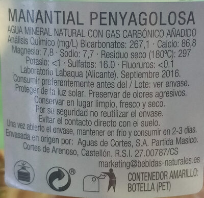 Agua mineral natural con gas - Ingredients - es