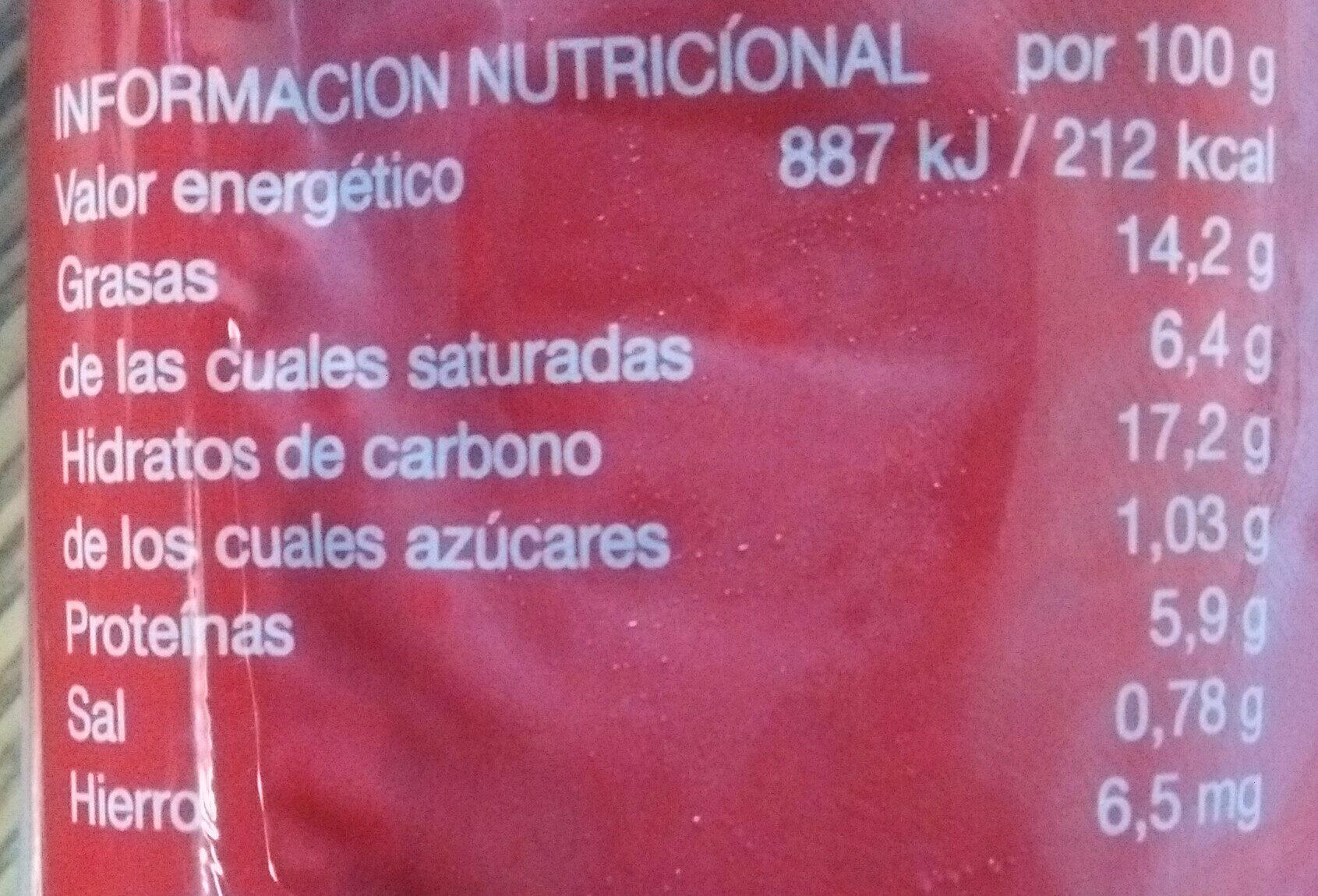 Morcilla de Burgos - Nutrition facts - es