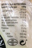 Queso cabra y vaca con ajo negro - Información nutricional