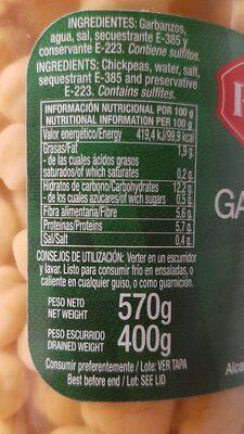 Garbanzos Don Pedro - Información nutricional - es