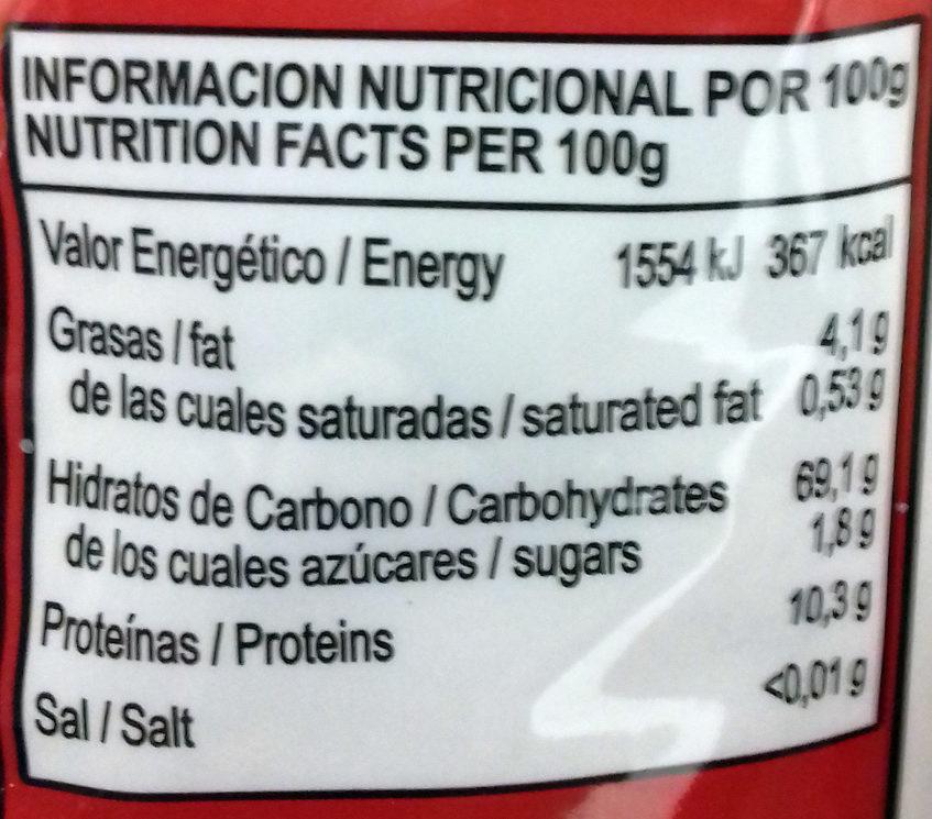 Harina de quinoa - Información nutricional