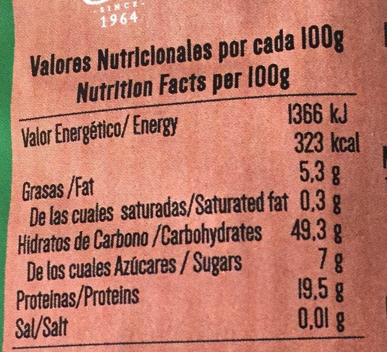Garbanzos - Información nutricional
