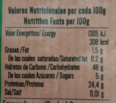 Lentejas - Información nutricional - es