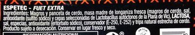 Espetec - Fuet Extra - Ingredients