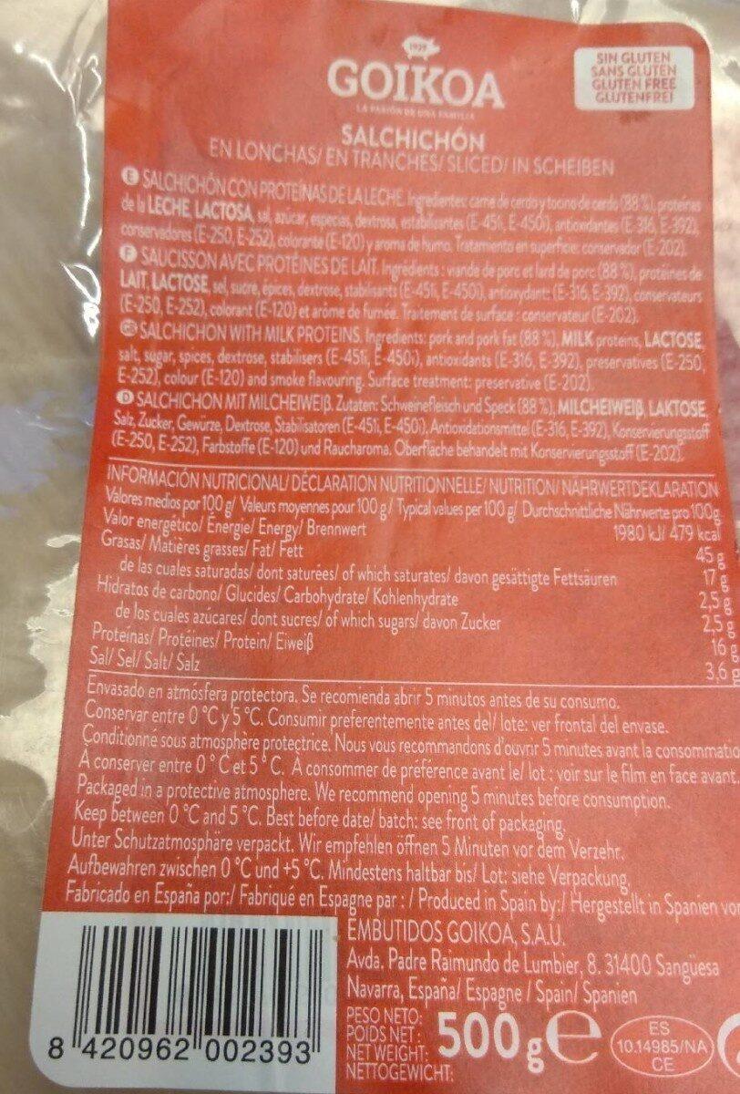 Salchichón en lonchas - Producto