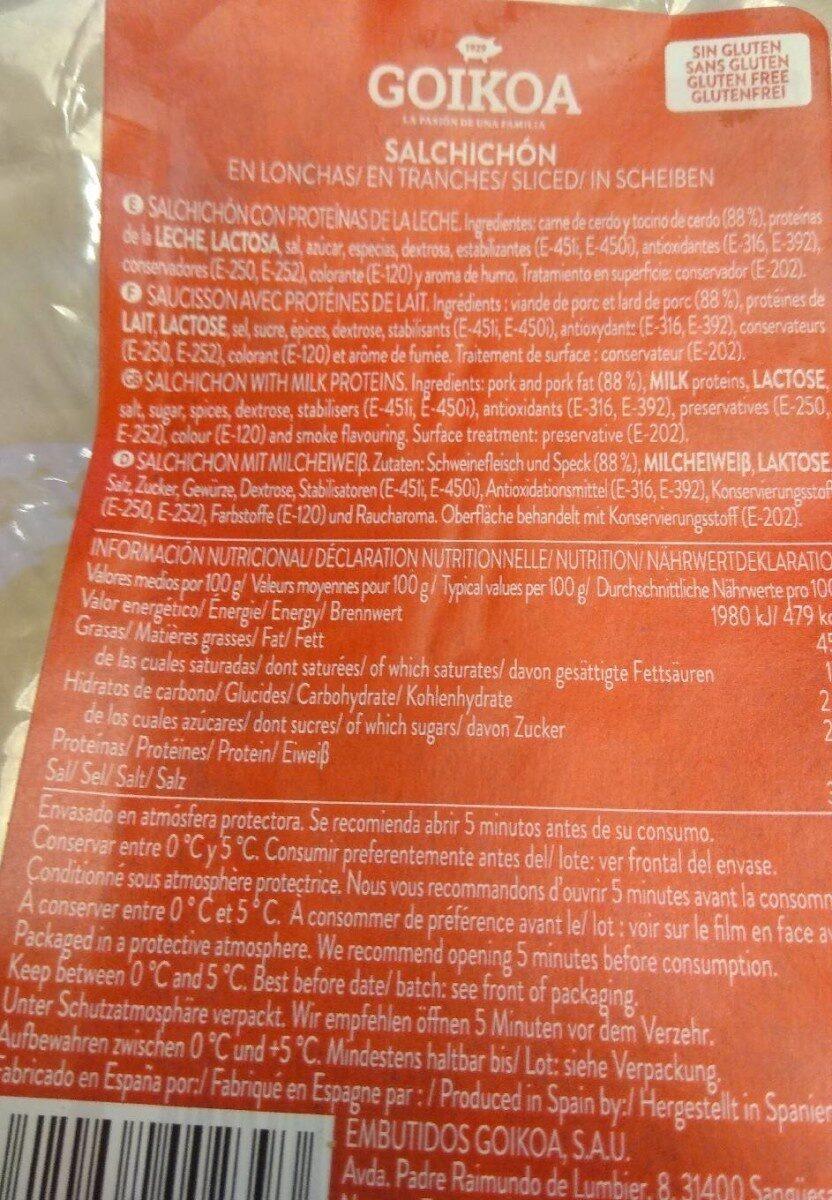 Salchichón en lonchas - Información nutricional