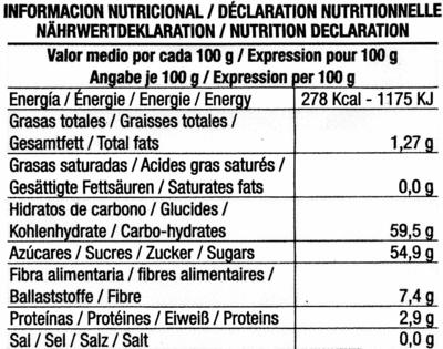 Higos secos - Información nutricional