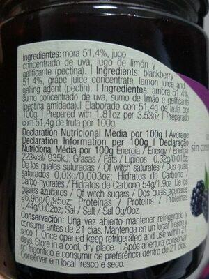 Preparado de mora - Informació nutricional - es