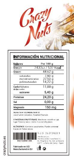 Crema de Cacahuete Fitness Crazy Nuts - Información nutricional - es