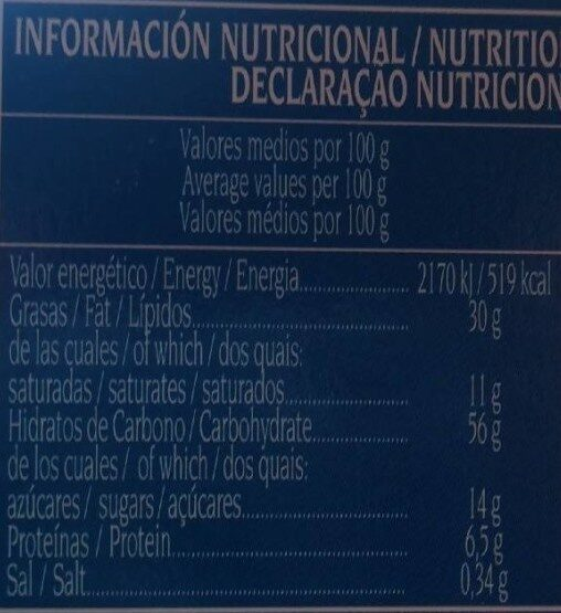 Nevaditos Bollitos hojaldrados - Informação nutricional - fr