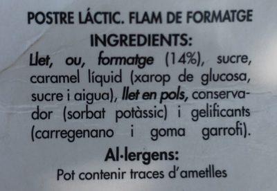 Flam de formatge - Ingredientes