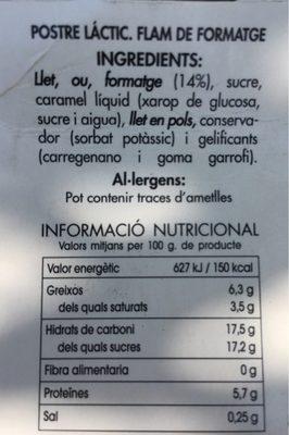 Flam de formatge - Información nutricional