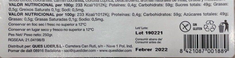 Jalea 3 colors - Nutrition facts - es