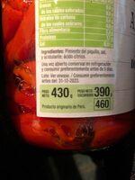 pimientos del piquillo enteros extra - Ingrediënten
