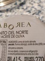 Saborea Bonito del Norte en aceite de oliva - Ingredienti - es