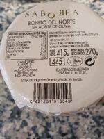 Saborea Bonito del Norte en aceite de oliva - Valori nutrizionali - es