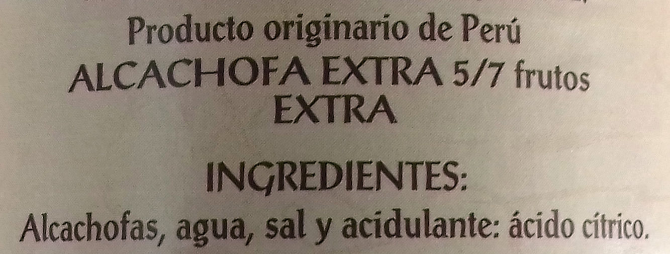 Alcachofas enlatadas - Ingredientes