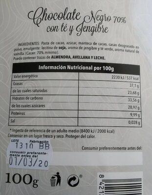 Chocolate negro 70% con té y jengibre - Nutrition facts - es