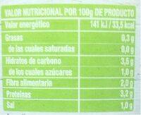 Corazones de alcachofas - Voedingswaarden - es