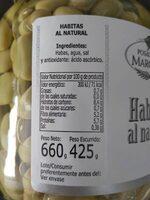 Habitas al natural - Informations nutritionnelles