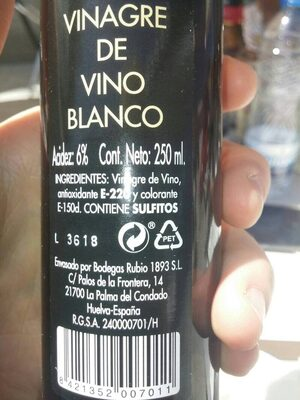 Vinagre de vino blanco - Ingredientes - es
