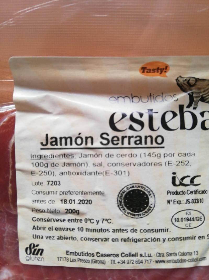 Jamon serrano Fluvia - Ingredients - es