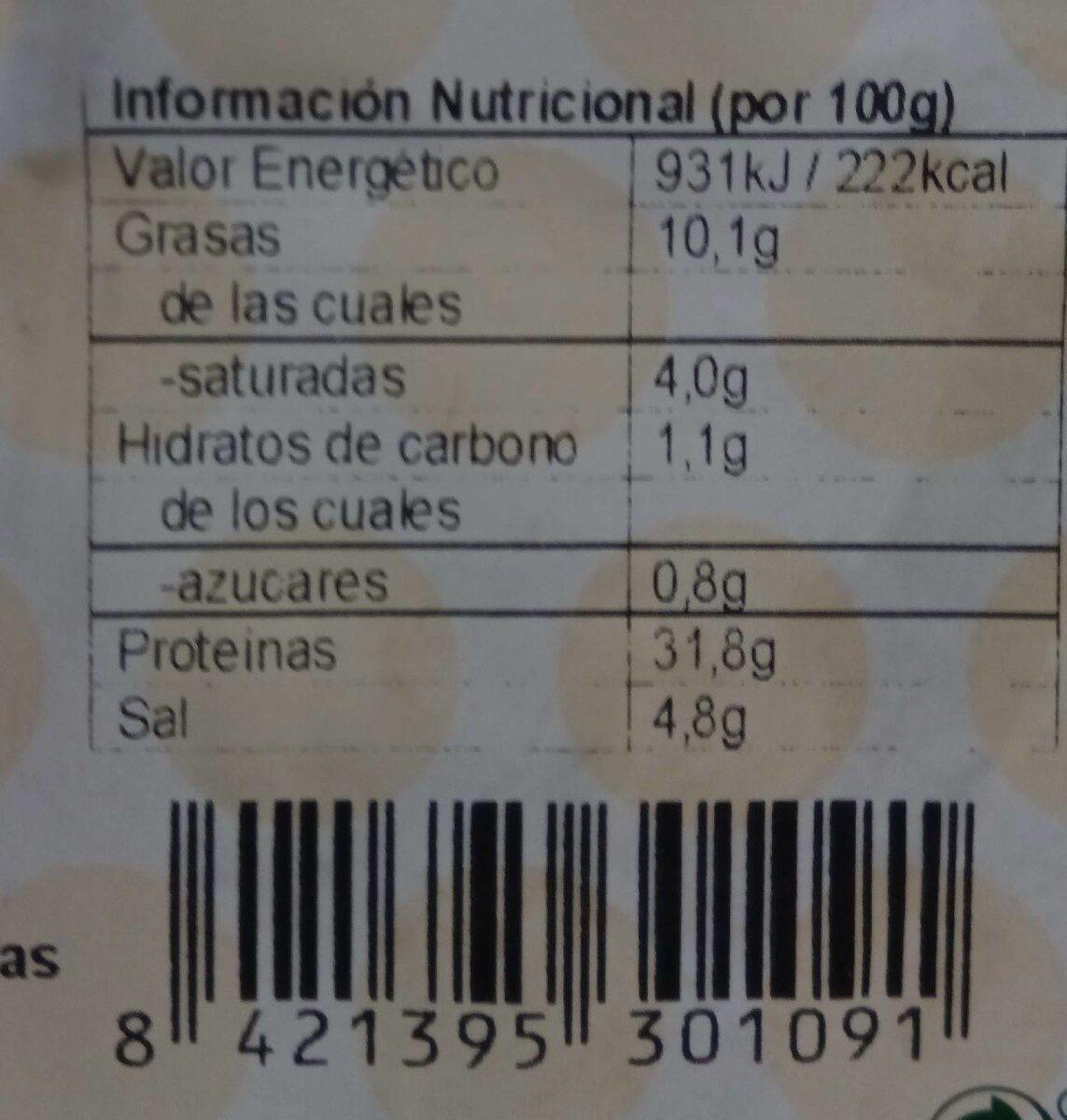 Jamon serrano Fluvia - Nutrition facts - es