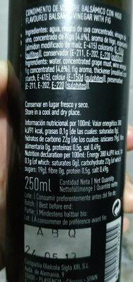 Vinagre balsámico con higo - Nutrition facts