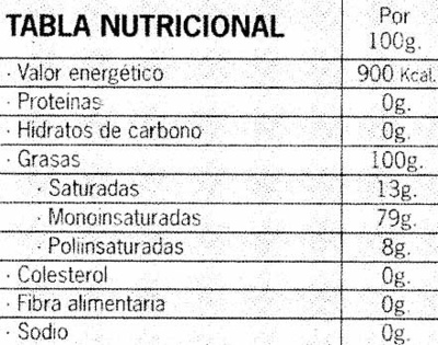 """Aceite de oliva virgen extra ecológico """"Verde Mágina"""" - Información nutricional"""