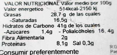 Tejas de almendra y coco - Nutrition facts - es