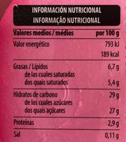 Helado fresas con trozos - Informação nutricional - es