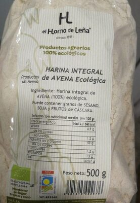 Harina integral de avena ecológica