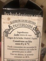Leche entera La Colmenareña - Ingredientes