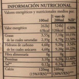 Leche entera La Colmenareña - Información nutricional